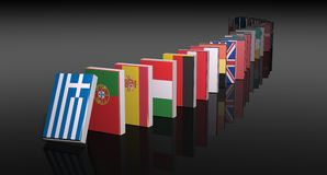 European crisis. 3d domino on black background Royalty Free Stock Photography