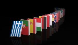 European crisis 3d domino. On black background Stock Photo