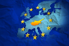 Cyprus contour at the creased map of European Union Royalty Free Stock Photo