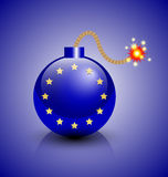 European crisis icon. Burning European crisis bomb icon isolated on blue background Stock Photo