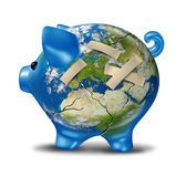 European Crisis Management. European banking and bad economy crisis as a cracked earth map piggy bank  with bandages to repair the broken ceramic pig bank and Royalty Free Stock Images