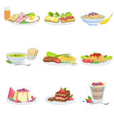European Cuisine Dish Assortment Menu Items Detailed Illustrations. Set Of Cafe Plates In Realistic Design Drawings Stock Photos