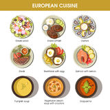 European cuisine food dishes for menu vector templates Stock Images