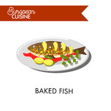 European cuisine food vector menu dish template. European cuisine dish for restaurant menu template. Baked fish, sea salmon or trout with garnish of potato Royalty Free Stock Images