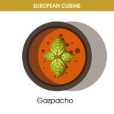 European cuisine Gazpacho soup traditional dish food vector icon for restaurant menu. European cuisine Gazpacho soup traditional Spanish dish of vegetables in Royalty Free Stock Photos
