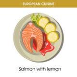 European cuisine salmon fish traditional dish food vector icon for restaurant menu. European cuisine salmon fish steak traditional dish with vegetables garnish Royalty Free Stock Photos
