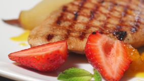 European cuisine. steak with pear and berries. 4k stock video