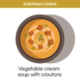 European cuisine vegetable soup traditional dish food vector icon for restaurant menu. European cuisine vegetable cream soup with croutons traditional dish in Royalty Free Stock Images
