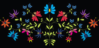 European Culture Inspired Folk Floral pattern in color on black background. Icon stock illustration