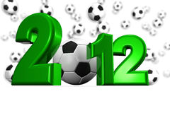 European Cup 2012. Royalty free stock image of a XXXL Large 3D render of the number 2012, in green, isolated on white copy space. A soccer ball representing the Royalty Free Stock Photos