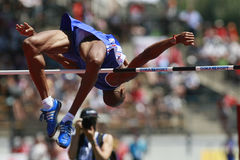 European Cup. Raifik Mustapha (FRA).High Jump Royalty Free Stock Photo