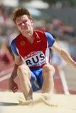 European Cup. Spasovkhodskiy igor (RUS).triple jump Royalty Free Stock Image