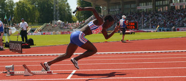 European Cup. First french at the 4X400m women Royalty Free Stock Image