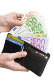 European curency in wallet Royalty Free Stock Photos