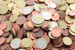 European currencies. Fund of euro coins and cents of the European Union Royalty Free Stock Photography