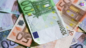 European currencies rotating stock footage