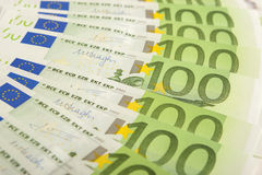 European Currency Banknotes Placed Circular Stock Photography