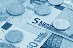 European currency (blue toned). Close up of European currency (blue toned Stock Image