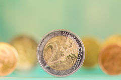 European currency - coins. Extremely close up view of European currency Royalty Free Stock Photos