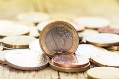 European currency coins. Extremely close up view of European currency coins Stock Photos