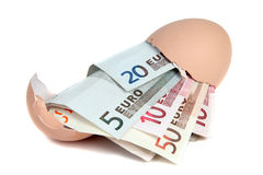 European currency in eggshell Stock Photos