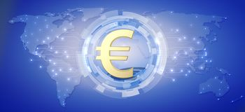 European currency Euro as a global currency. 3d render vector illustration