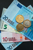European Currency, Euro Banknotes and Coins Royalty Free Stock Image