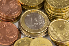 European currency, Euro coins macro - money Royalty Free Stock Photography