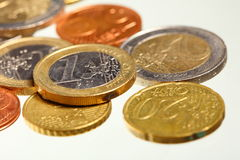 European currency euro coins money on white Stock Images
