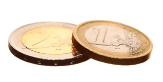 European currency euro coins money on white. European currency euro coins money isolated on white. Finance and economy Stock Photography