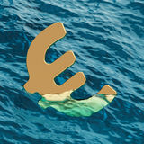 European Currency Euro Symbol Going Under 3d Illustration Royalty Free Stock Photos