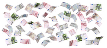 European currency falling from heaven Royalty Free Stock Photo