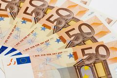 European currency - Fifty Euro Banknotes Stock Photo