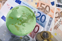 European currency and globe Stock Photography