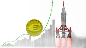 European currency growth graph. Graph of rapid growth of the European currency and rocket launch. Footage video vector illustration