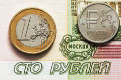 European currency: the iron coins and banknotes, and Russian ruble Stock Photo