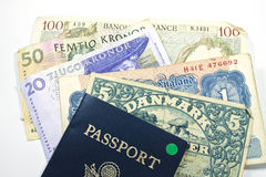 European currency with a passport stock photos