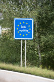 European Czech Republic blue border post Stock Photography