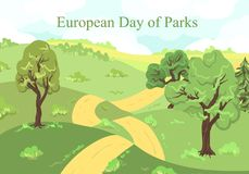 European Day of Parks. Holiday of May 24. Trees for a card botanical garden, forest, entourage. Park poster. Vector illustration - Hills, the road going into Stock Image