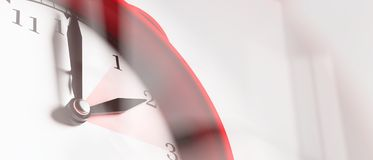 European daylight saving time. Red alarm clock close up on white background, banner. 3d illustration. European daylight saving time end. Red alarm clock close up stock images