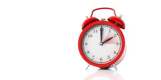 European daylight saving time end. Red alarm clock isolated on white background, copy space. 3d illustration stock photo