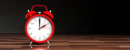 European daylight saving time. Red alarm clock on wooden desk, black background, banner. 3d illustration royalty free stock image