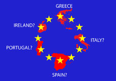 European debt crisis. Image of the European debt crisis. Will Europe survive this financial crisis with problems in Greece, Italy, Spain, Ireland and Portugal Royalty Free Stock Photos