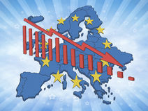 European Decline. Illustration of declining trends in the European Union and the Euro. European map with symbols and declining diagram Royalty Free Stock Photos