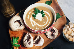 European dish entree served at restaurant. Creamy mushroom soup. Delicacy Stock Image
