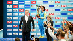European Diving Championships 2017 winner ceremony, Kiev, Ukraine, stock video