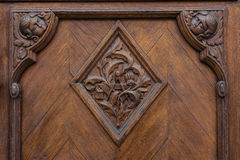 European Door Emblem Texture Oak Heavy Closeup Doorknob Surface Stock Image