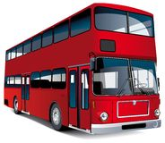 European double-dacker bus. Detailed ial image of red European double decker bus, isolated on white background. Contains blends and gradients Royalty Free Stock Photo
