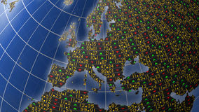 European economies in stock market tickers. World economies series with stock market tickers sliding on globe centered on European continent Royalty Free Stock Photography