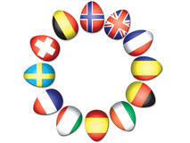 European Egg Circle. Circle of Easter Eggs representing European flags Stock Image